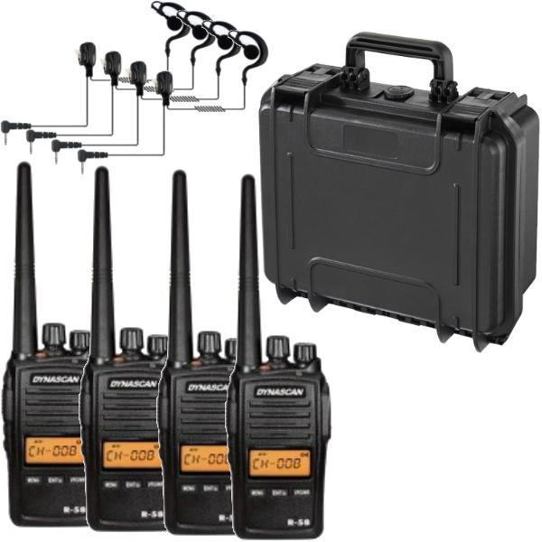 Maleta con 4 Dynascan R-58 + 4 Micro-auriculares