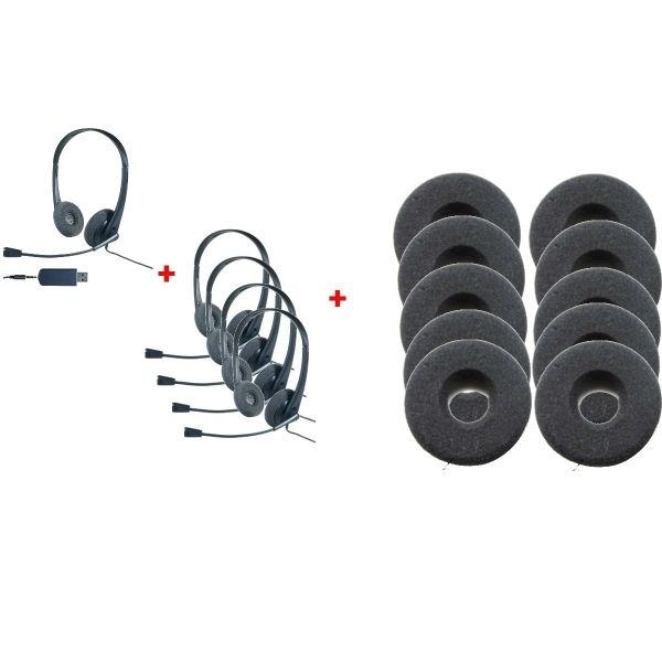 Pack de 5 auriculares HC35 y 10 FRGS01HN