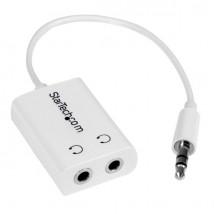 Cable Adaptador Splitter Blanco Delgado Mini Jack para Auriculares - Divisor Macho 3,5mm a 2x Hembra