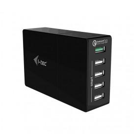 i-tec CHARGER5P52WQC cargador de dispositivo móvil Interior Negro