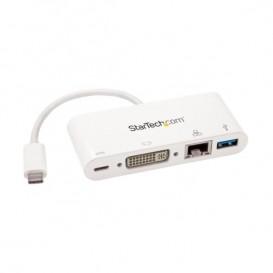 Adaptador Multipuertos USB-C para Portátiles - Docking Station USB Tipo C DVI GbE con Hub Concentrador USB 3.0