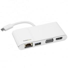 Adattatore Multiporta per Portatili USB-C - HDMI 4K o VGA - GbE - USB 3.0 - Bianco e Argento