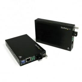 Juego Kit Extensor Ethernet Conversor de Medios 10/100 a Fibra SC de Modo Único WDM - 20km