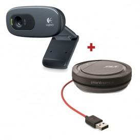 Pack de cámara Logitech C270 con auricular Plantronics Calisto 3200