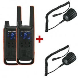 Motorola TLKR T82 + 2 Micrófonos de solapa PTT