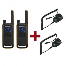 Motorola Talkabout T82 Extreme x 2 + Micrófonos de solapa x 2