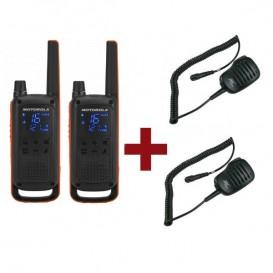 Motorola Talkabout T82 x 2 + Micrófonos de solapa x 2