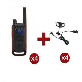 Motorola Talkabout T82 x 4 + Kit Earloop x 4