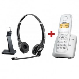 Sennheiser DW GAP Duo + Tel. Inalámbrico Gigaset A120 Blanco