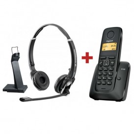 Sennheiser DW Pro 2 GAP + tel. inalámbrico Gigaset A120 Negro