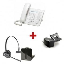 Panasonic KX-DT521 Blanco + aur. inalámbrico Plantronics CS540 + Descolgador a distancia Plantronics HL10