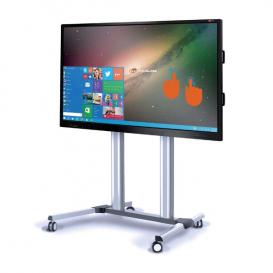 Soporte móvil plateado para pantallas MultiClass