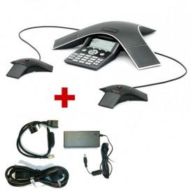 Soundstation IP 7000 POE con sus 2 micrófonos y alimentación externa