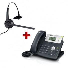 Teléfono SIP Yealink T21P + Auricular Freemate DH037-U-GY