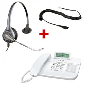Gigaset DA710 blanco + Plantronics Supra Plus HW251 Tubo Vocal (Cable incluido)