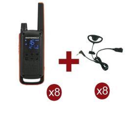 Pack de 8 Motorola Talkabout T82 + Kits de contorno BR1708