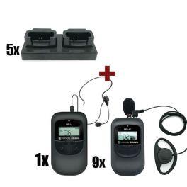 Pack de 10 Escolta bravo con cargadores: 1 emisor HE-L + 9 receptores HE-P