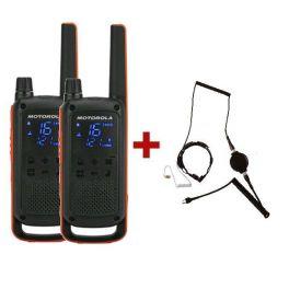 Motorola TLKR T82 + 2 Auriculares Laringófonos