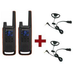 Pack Dúo Motorola TLKR T82 + 2 Kits Earloop PTT
