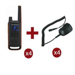 Motorola Talkabout T82 x 4 + Micrófonos de solapa x 4
