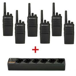 Pack de 6 walkie talkies Motorola XT420 + 1 cargador de 6 posiciones