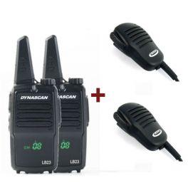 Dynascan LB23 + 2 Micrófono de solapa PTT