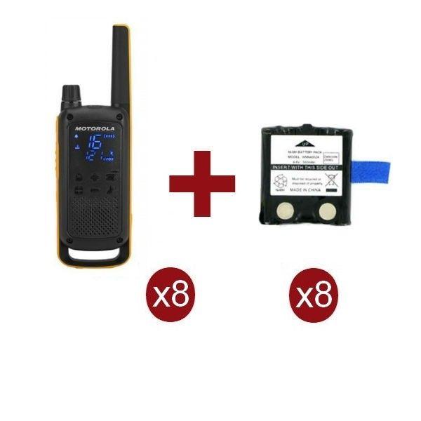 Pack de 8 Motorola Talkabout T82 Extreme + baterias de recambio