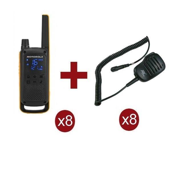 Pack de 8 Motorola Talkabout T82 Extreme + Micrófonos de altavoz remoto