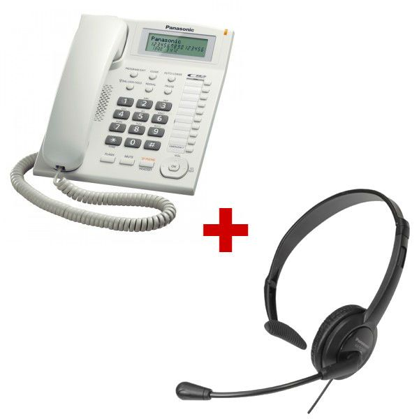 Panasonic KX-TS880 blanco + auricular Panasonic RP-TCA 400 (Jack 2.5 mm)