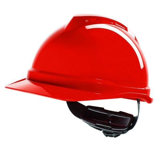 Casco MSA V-Gard 500 - Con ventilación y cierre Fas Trac III - Rojo