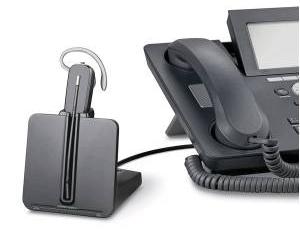 Teléfono fijo con auriculares