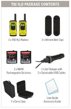 Contenido de la maleta del walkie Motorola TLKR T92 H2O