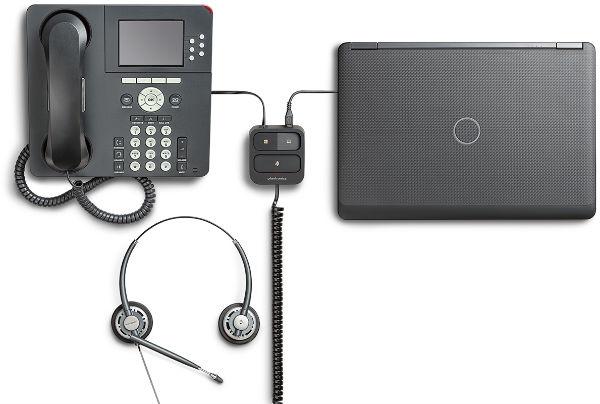 Conmutador Plantronics para teléfono y PC